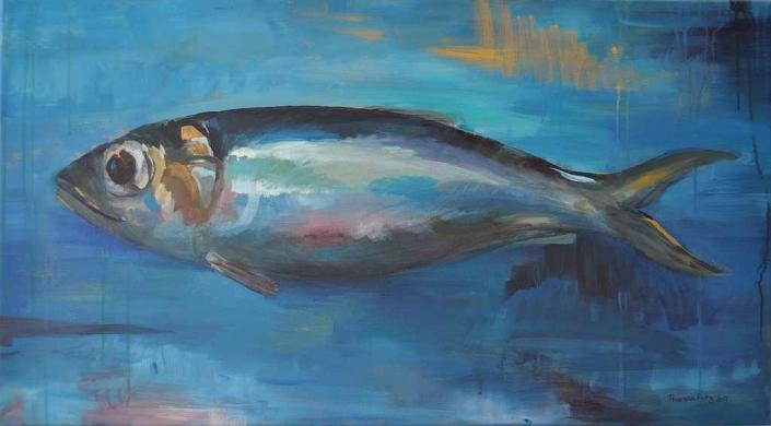 Fischgold - Acryl - 90x50cm